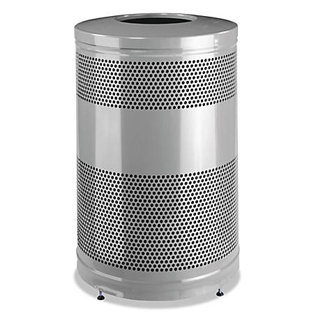 Rubbermaid® Commercial Classics Round Steel Open-Top Waste Receptacle, 51 Gallons, Black/Stardust Silver Metallic