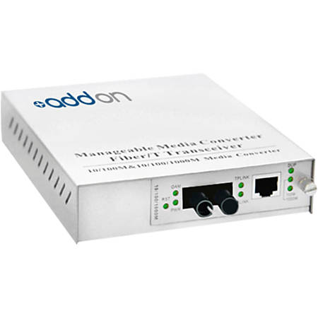 AddOn 10/100/1000Base-TX(RJ-45) to 1000Base-BXU(ST) BiDi SMF 1310nm/1550nm 20km Managed Media Converter - 100% compatible and guaranteed to work