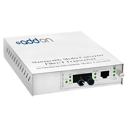 AddOn 10/100/1000Base-TX(RJ-45) to 1000Base-SX(ST) MMF 850nm 550m Managed Media Converter
