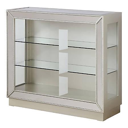 Coast to Coast 3-Shelf Mirrored Bookcase, Elsinore Champagne