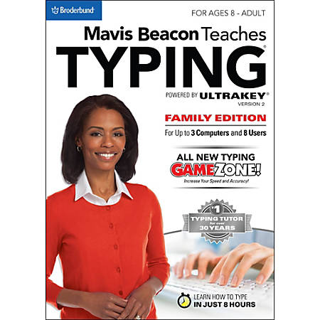 Mavis Beacon Teaches Typing Powered by Ultrakey v2 - Family Edition (PC), Download Version