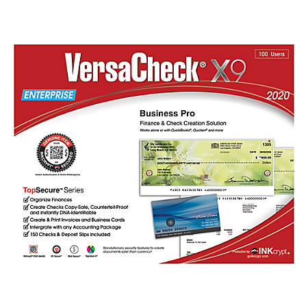 VersaCheck® X9 Enterprise TopSecure 2020, For 100 Users, Traditional Disc