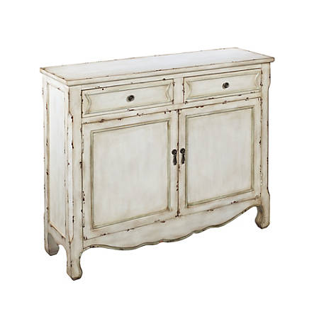 "Coast to Coast 2-Drawer Cupboard, 35-1/2""H x 40""W x 12""D, Distressed White"
