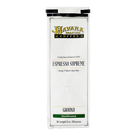 Havana Roasters Coffee Cuban Espresso Supreme Decaf Ground Coffee, 12 Oz, Carton Of 3 Bags