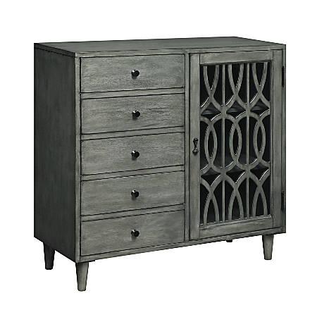 "Coast to Coast 5-Drawer/1-Door Cabinet, Gray, 35""H x 36""W x 14""D"