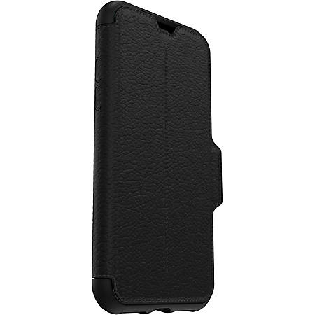 "OtterBox Strada Carrying Case (Folio) Apple iPhone XS, iPhone X Smartphone - Shadow - Leather - 5.9"" Height x 3.2"" Width x 0.6"" Depth"