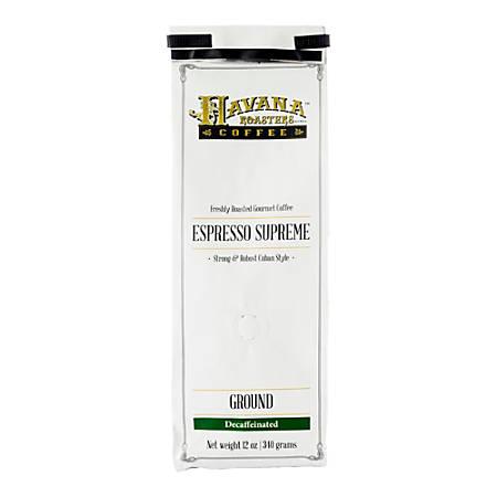 Havana Roasters Coffee Cuban Espresso Supreme Decaf Ground Coffee, 12 Oz, Carton Of 12 Bags