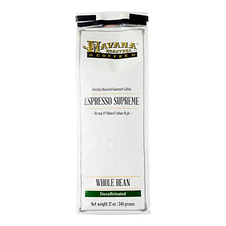 Havana Roasters Coffee Cuban Espresso Supreme Decaf Whole Bean Coffee, 12 Oz, Carton Of 12 Bags