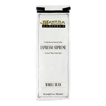 Havana Roasters Coffee Cuban Espresso Supreme Whole Bean Coffee, 12 Oz, Carton Of 12 Bags