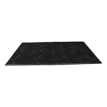 "Waterhog Plus Swirl Floor Mat, 48"" x 96"", 100% Recycled, Black Smoke"