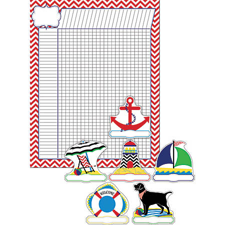 "Barker Creek Chart And Accent Set, 19"" x 13 1/4"", Nautical Chevron"