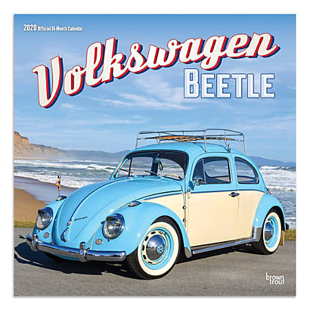 """Brown Trout Monthly Wall Calendar, Volkswagen Beetle, 24"""" x 12"""", January To December 2020"""