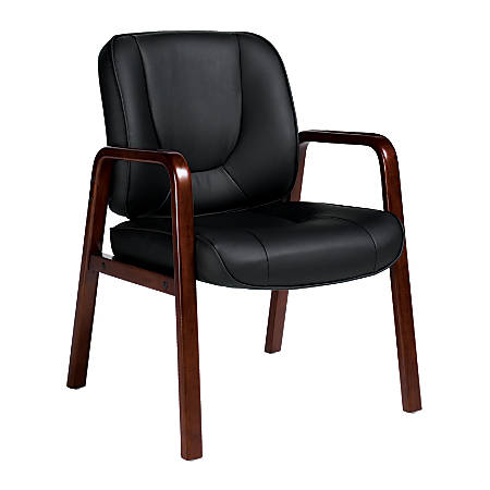 """Offices To Go™ Luxhide Leather Guest Chair, 34 1/2""""H x 24""""W x 26""""D, Black"""