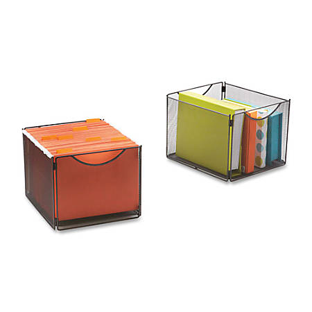 "Safco Onyx Mesh Storage Cube Bins - External Dimensions: 12.5"" Width x 14"" Depth x 10"" Height - 20 lb - Steel - Black - 2 / Pack"