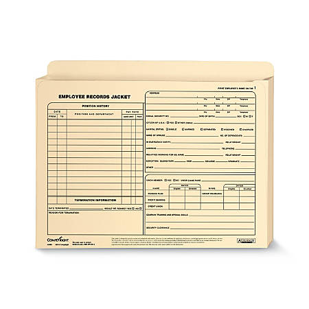 "ComplyRight Letter-Size Expandable Employee Record Jackets, 12"" x 9"" x 1"", Pack Of 25"