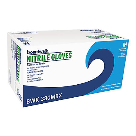 Boardwalk Disposable Nitrile General-Purpose Gloves, Medium, Blue, Box Of 100 Gloves
