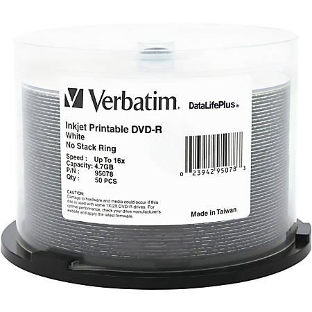 Verbatim DVD-R 4.7GB 16X DataLifePlus White Inkjet Printable - 50pk Spindle
