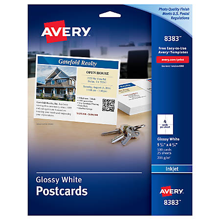 "Avery® Inkjet Post Cards, 4 1/4"" x 5 1/2"", Glossy White, Box Of 100"