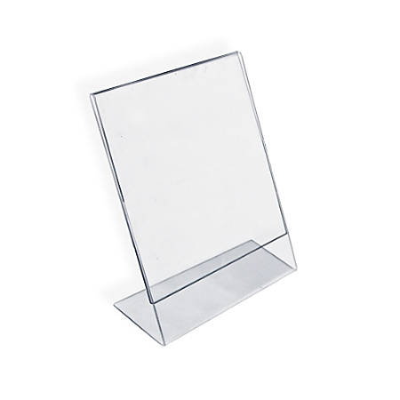 """Azar Displays Acrylic L-Shaped Sign Holders, 11"""" x 8 1/2"""", Clear, Pack Of 10"""