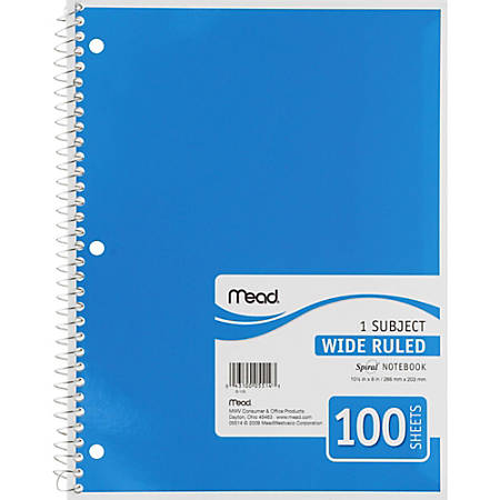 "Mead Spiral Bound Wide Ruled Notebooks - 100 Sheets - Spiral - 8"" x 10 1/2"" - White Paper - Assorted Cover - Back Board - 1Each"
