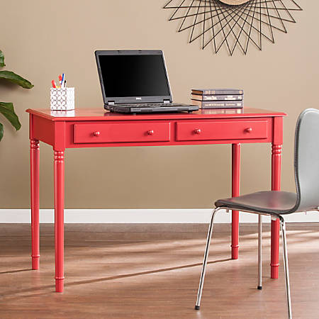 Southern Enterprises Janice Farmhouse 2-Drawer Writing Desk, Red