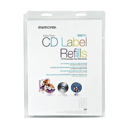 """Memorex® Inkjet/Laser CD/DVD Ultra-White Matte Labels, 32020403, 4 5/8"""" Diameter, Pack Of 300"""