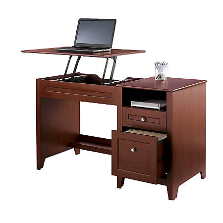 "Realspace® Premium Height-Adjustable 50""W Lift Top Desk, Brick Cherry"