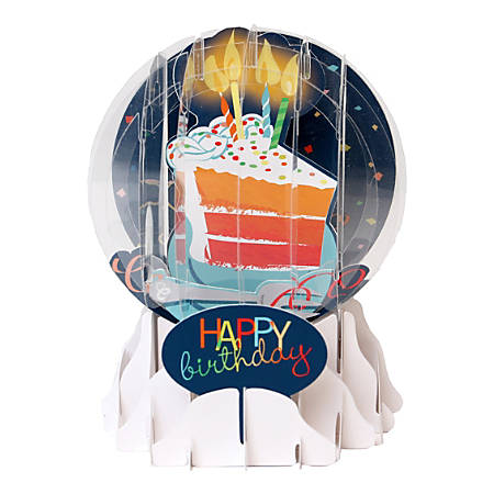 """Up With Paper Everyday Pop-Up Greeting Card, Snow Globe, 5"""" x 3-3/4"""", Big Slice Of Cake"""