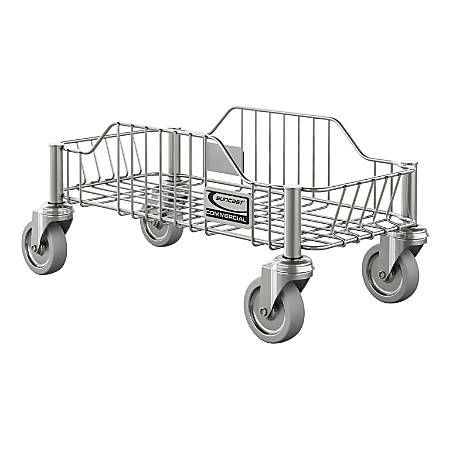 """Suncast Commercial Slim Trash Can Dolly, 8-11/16""""H x 10-3/8""""W x 18-7/16""""D, Stainless Steel"""