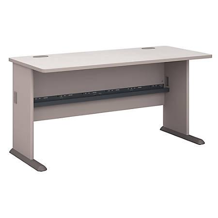 "Bush Business Furniture Office Advantage Desk 60""W, Pewter, Premium Installation"