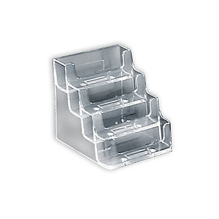 "Azar Displays 4-Tier Acrylic Business/Gift Card Holders, 14''H x 11''W x 5""D, Clear, Pack Of 10"