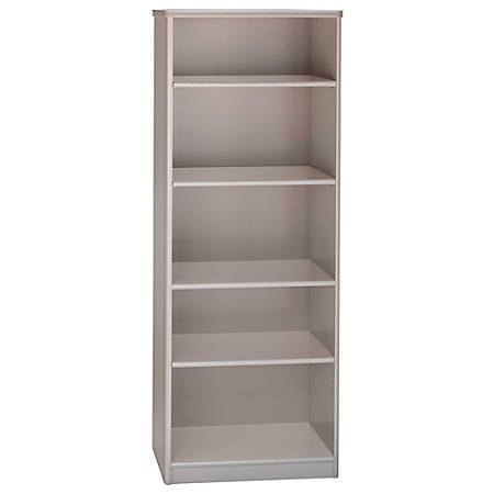 "Bush Business Furniture Office Advantage 5 Shelf Bookcase, 26""W, Pewter, Premium Installation"