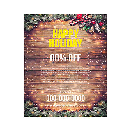 Plastic Sign Template, Wood Winter Holiday, Vertical