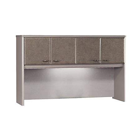 "Bush Business Furniture Office Advantage Hutch 60""W, Pewter/Pewter, Premium Installation"