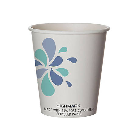 Highmark® Breakroom Hot Cups, 10 Oz, White/Blue/Black, Pack Of 50