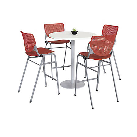 KFI Studios KOOL Round Pedestal Table With 4 Stacking Chairs, White/Coral Orange