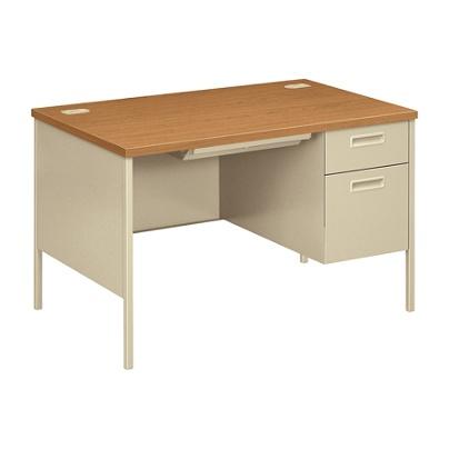 Hon Metro Classic Single Pedestal Desk Harvestputty By Office Depot Officemax