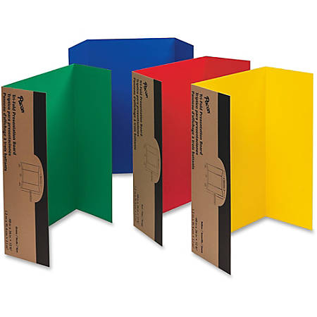 "Pacon® 80% Recycled Single-Walled Tri-Fold Presentation Boards, 48"" x 36"", Assorted Colors, Carton Of 24"