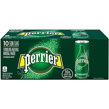 Perrier Sparkling Mineral Water, 8.45 Oz, Pack Of 10
