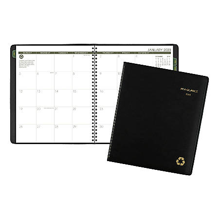 """AT-A-GLANCE® Deep Green Monthly Planner, 13 Months, 9"""" x 11"""", 100% Recycled, Black, January 2020 to January 2021"""