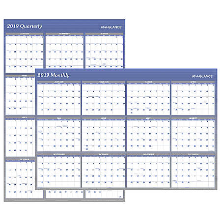 At A Glance Xl Wall Planner Blue 2019 Office Depot