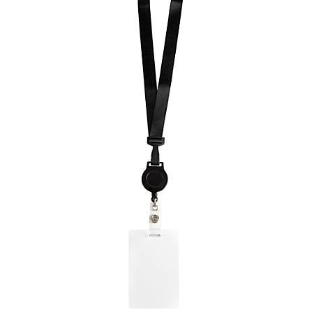 Office Depot® Brand Fashion Lanyard With Badge Reel, Black