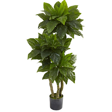 Nearly Natural 5'H Polyester Bird Nest Fern Tree With Pot, Green