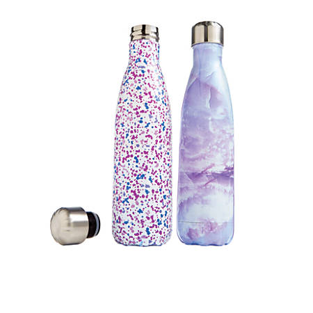 GNBI Stainless-Steel Insulated Bottles, 16 Oz, Purple, Set Of 2