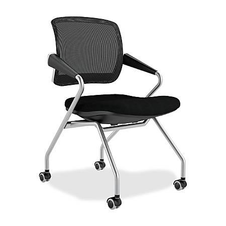 Mayline® Valore Mesh/Fabric Mid-Back Nesting Training Chair, Black