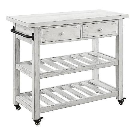 "Coast to Coast Orchard Park 2-Drawer Kitchen Cart, 34""H x 42""W x 18""D, White"