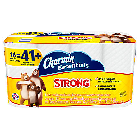 Charmin Essentials Strong 1-Ply Bathroom Tissue, White, 300 Sheets Per Roll, Pack Of 16 Rolls