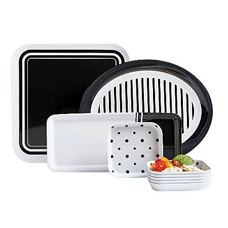 GNBI 9-Piece Hostess Set, Black/White