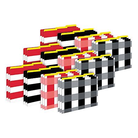 Barker Creek Tab File Folders, Letter Size, Buffalo Plaid/Wide Stripes, Pack Of 36 Folders