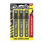 Sharpie® PRO Permanent Markers, Chisel Tip, Medium, Black/Gray Barrel, Black Ink, Pack Of 3